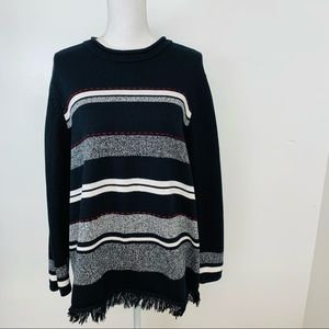 Requirements Woman Sweater 1X  Pull Over  Black Red  Gray Stripes  Boxy Fringe